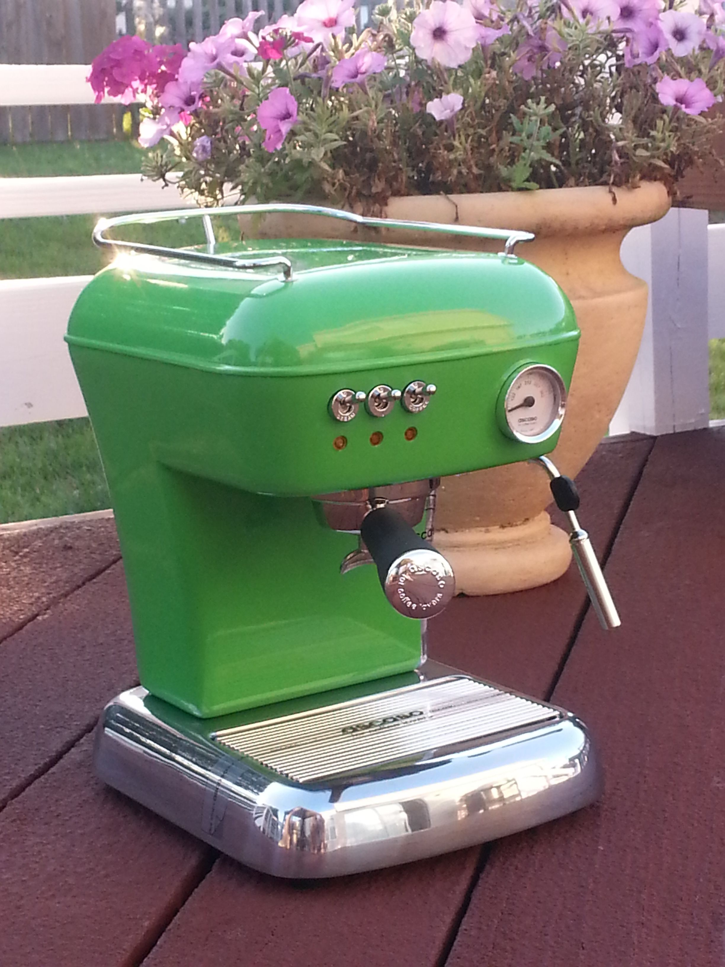Meadow Green Ascaso Dream UP espresso machine. Contact