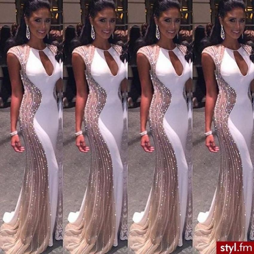 Gorgeous Champagne And White Mermaid Evening Dress Beaded Crystal 2016 Robe De Soiree Cap Short Sleeves Prom Dress Illusion Vestidos J16112 Online With 193 72