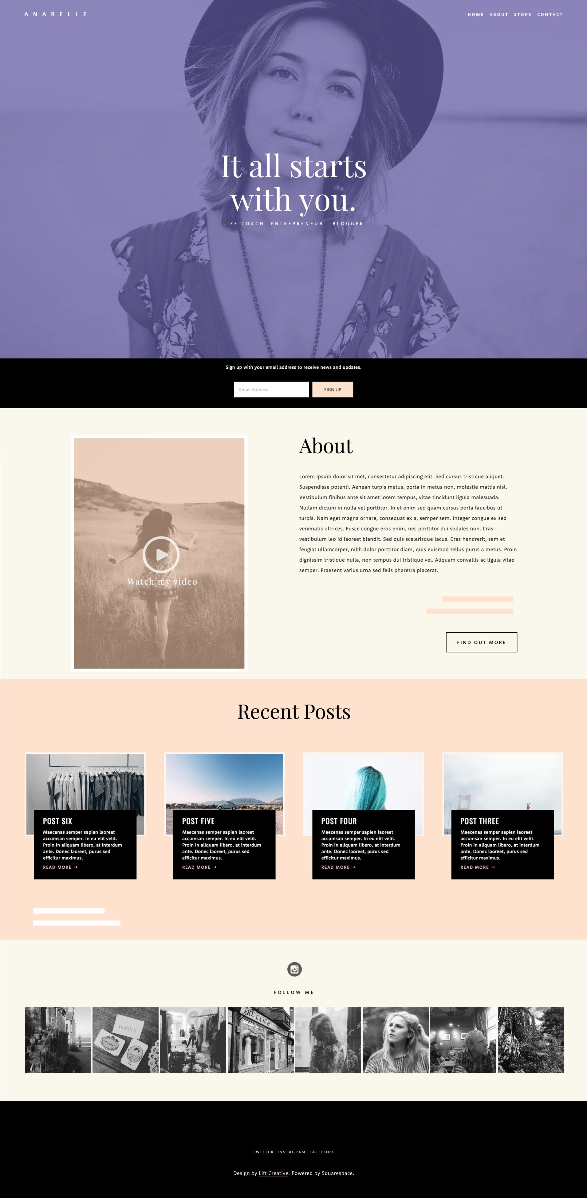 Our own custom Squarespace template \'Anabelle\' will be available ...