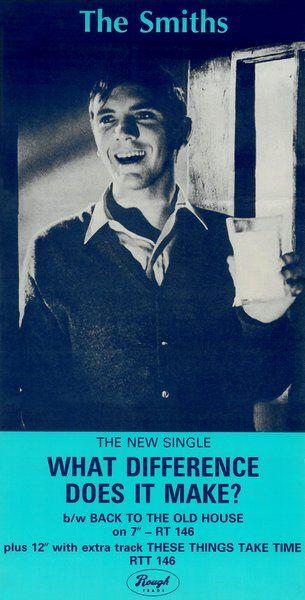 What difference does it make?, enero de 1984. Portada: Terence Stamp. La imagen fue extraída del rodaje de la película The Collector, de William Wyler. Terence Stamp no permitió la utilización de su imagen, los Smiths lo retiraron el single y lo distribuyeron con una recreación de la foto con Morrissey. Después se obtendría el permiso del Terence Stamp y los Smiths publicaron el single nuevamente con la portada original. Vía: http://www.thesmiths.cat/category/posters-1984/?lang=es