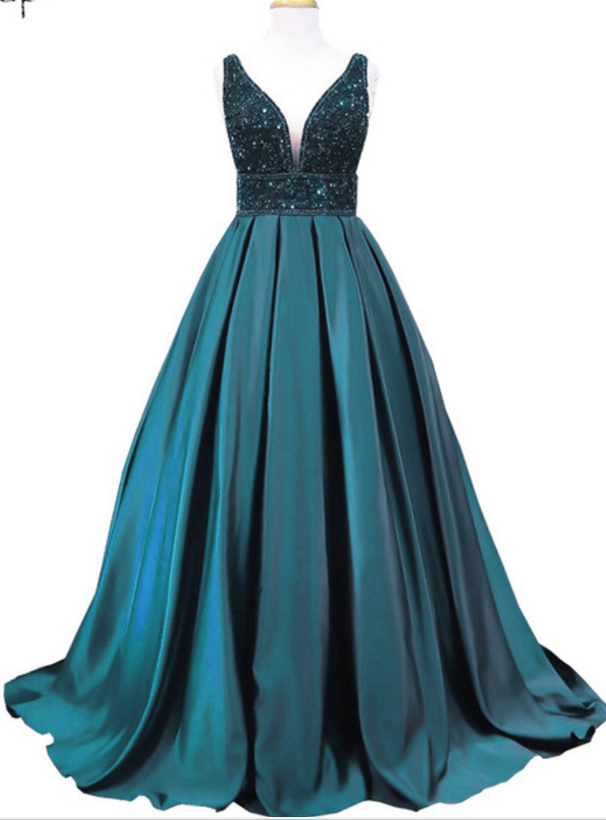 Long emerald evening gown, PROM dress v neck sleeveless women\'s ...