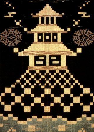 "Ikat    Konkasrui weave and pattern.  Konkasuri means ""indigo kasuri"" in Japanese.   Kasuri is the Japanese word for Ikat.    Cotton  Edo Period, 19th Century  From Kurume, Fukuoka Prefecture  Length 178 cm"