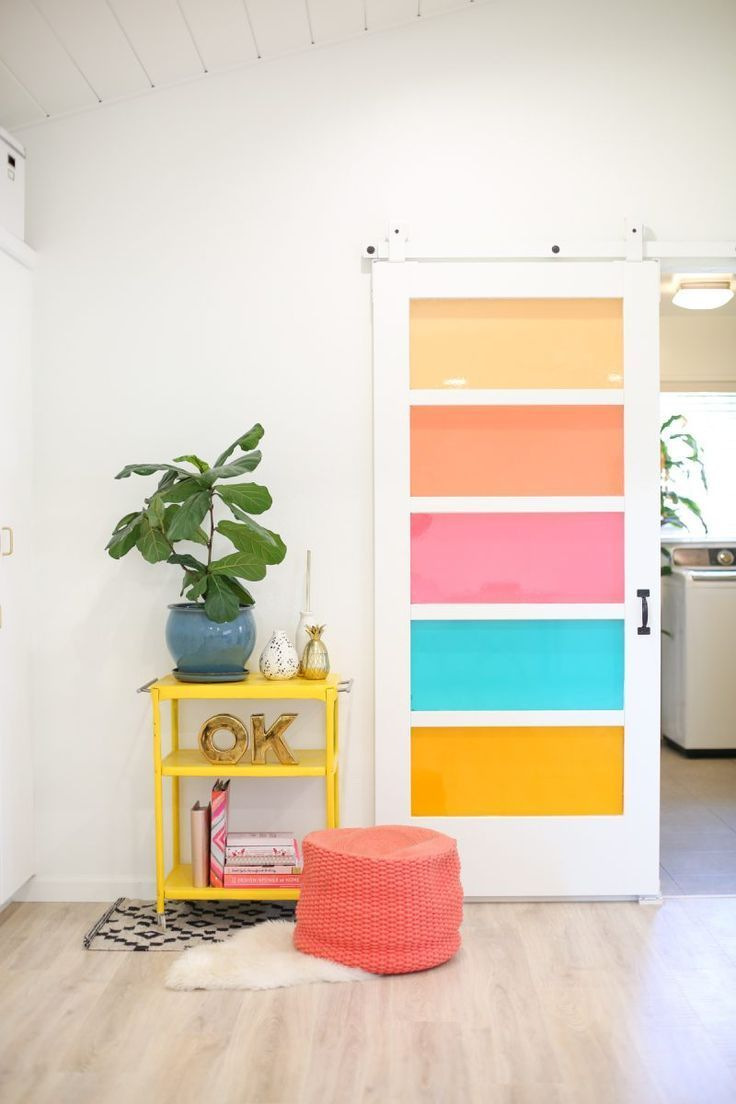 DIY project: Faux Stained Glass Sliding Barn Door