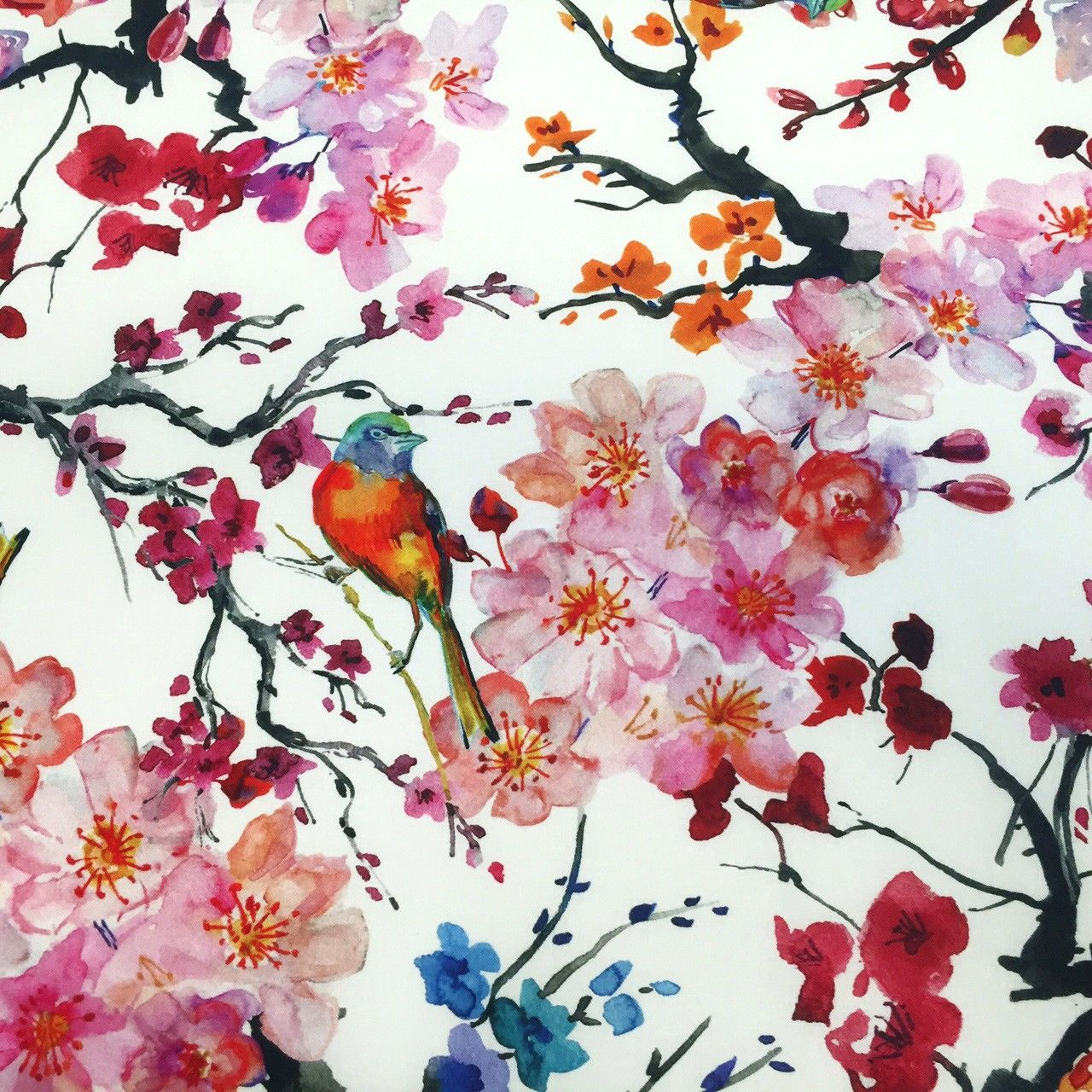 tissu de coton japonais gunma jardin japonais oiseaux et fleurs de cerisier japan. Black Bedroom Furniture Sets. Home Design Ideas
