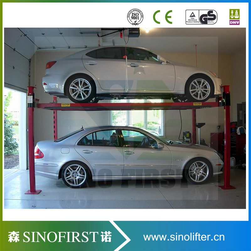 2 Floor Four Post Car Parking Equipment 4 Poles Car Parking Lift