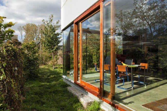 Schiebetür Glaswand Holzrahmen-Verglasungen Gepo-Haus Soggiorno - pool mit glaswand garten