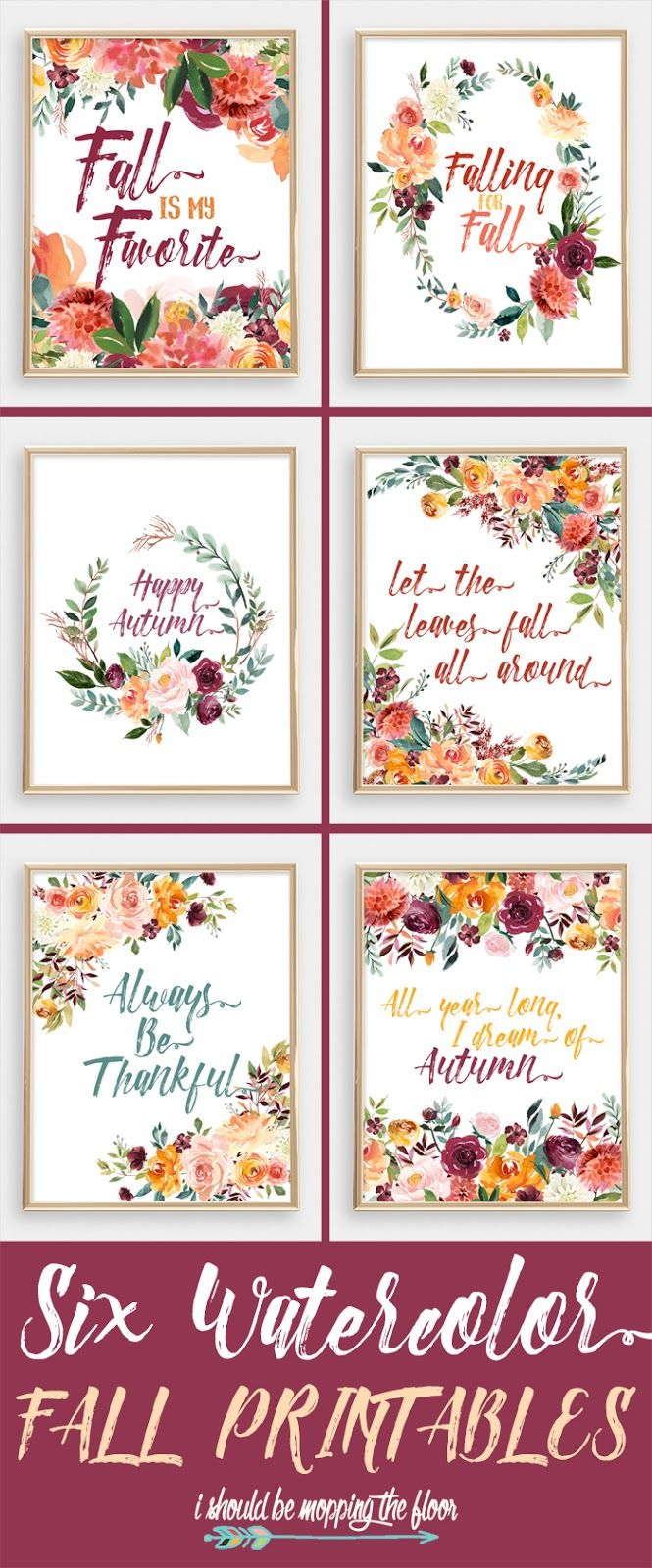 Six Watercolor Fall Printables | These gorgeous watercolor printables are layered in fall florals and foliage. They're breathtaking and perfect with all autumn decor.