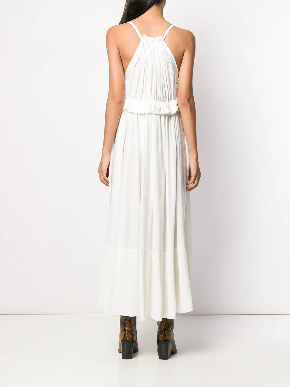 Chloe Ruffled Waist Dress Farfetch Dresses Waist Dress White Midi Dress [ 1334 x 1000 Pixel ]