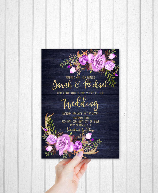 Navy Blue Wedding Invitation Printable Purple Floral Wedding