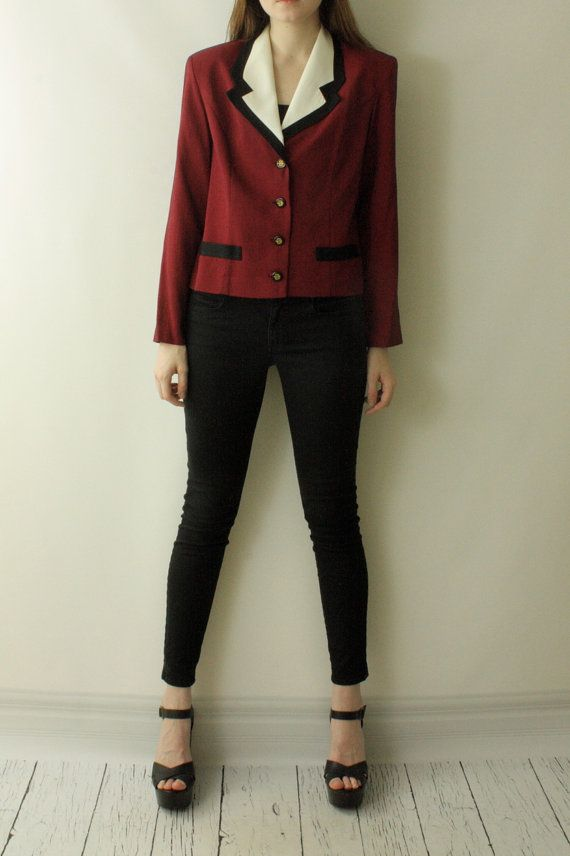 Vintage 80's Red Houndstooth Tuxedo CLASSIC by SomeplaceSunnier