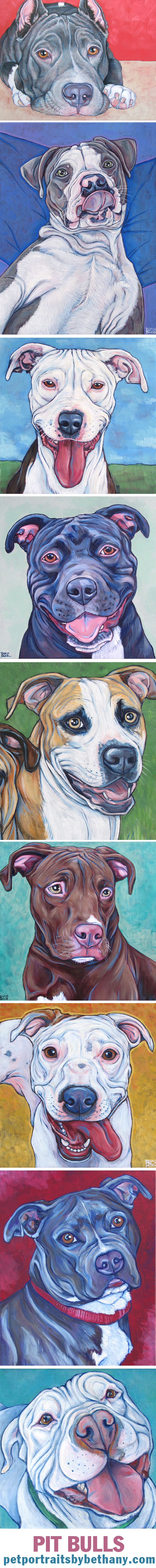 Pit Bull Dogs Custom Pet Portrait Paintings in Acrylic Paint on Canvas from Pet Portraits by Bethany. #pitbull #pitbulls #dogart #petportrait #custmopetportrait #art #petpainting #pets