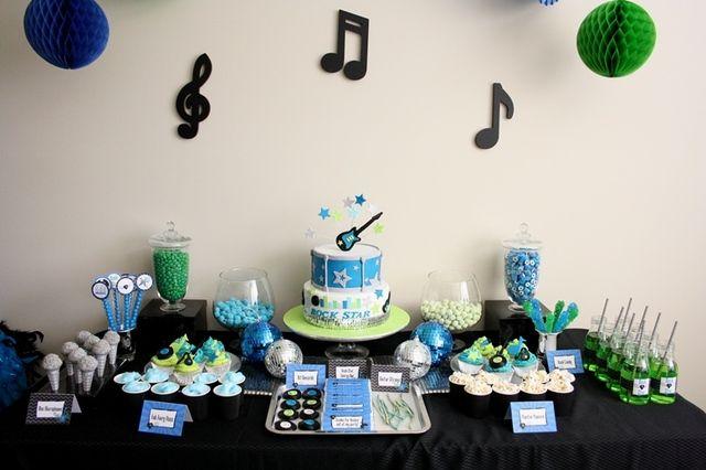 Rock Star Guitar Birthday Party Ideas Photo 13 Of 17 Music Birthday Party Dance Party Birthday Rockstar Birthday Party