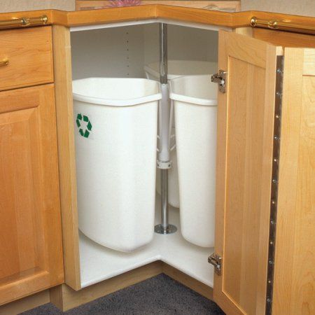 Recycling Center Rotary Mounts To Cabinet Door 3 Bins 32 Quarts Each 25 Inch To 33 Inch Post Height Range Kitchen Trash Cans Kitchen Style Recycling Center