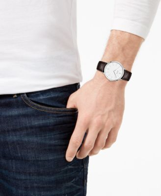 0554d3deb4ee Boss Hugo Boss Men s Essential Ultra Slim Brown Leather Strap Watch 40mm -  White