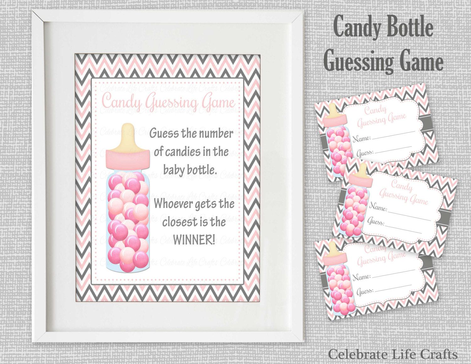 baby shower printable candy bottle guessing sign and