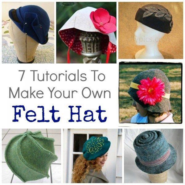 7 Tutorials To Make Your Own Felt Hat | Fieltro, Tocado y Sombrero ...