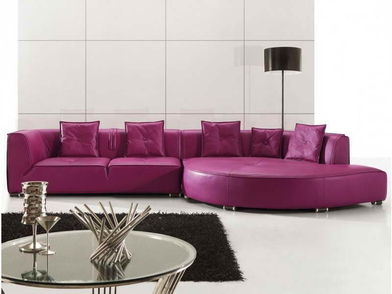 sofa leather bed purple couch couches sectional bomer corner