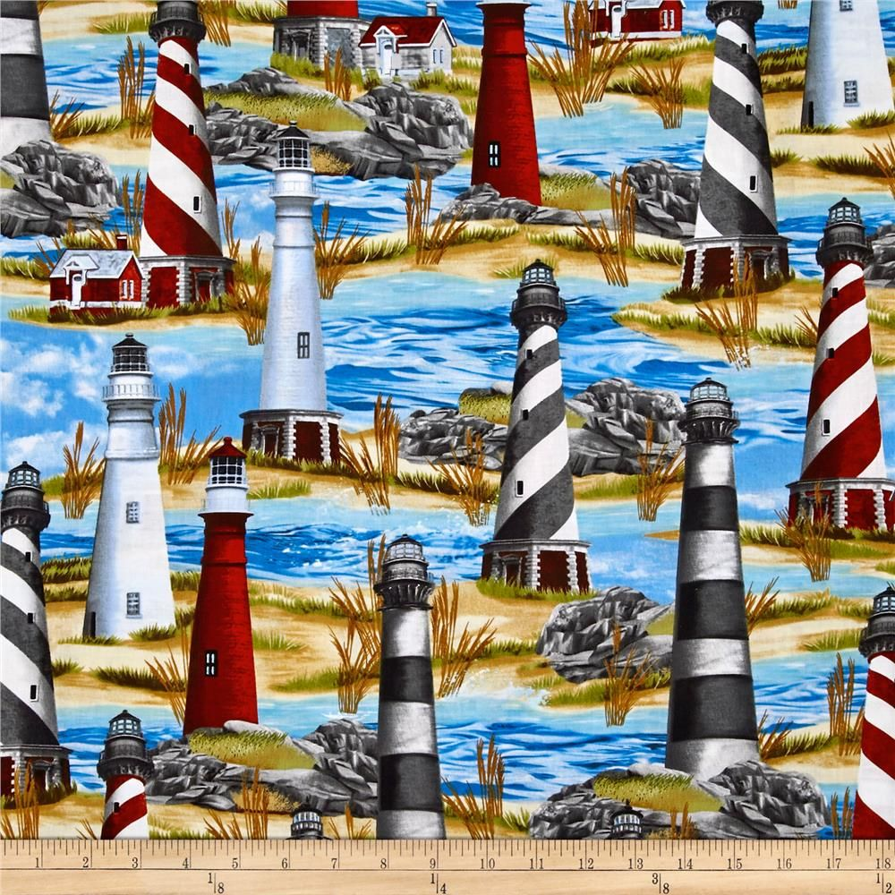Nautical Home Decor Fabric Timeless Treasures Lighthouse Blue Accent Colors Lighthouses