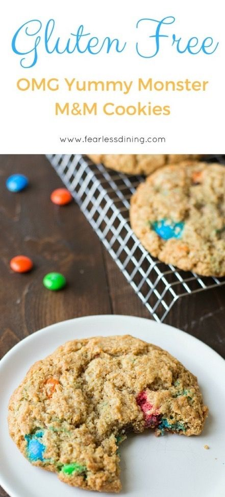 Super yummy GIANT gluten free M&M cookies. If you love M&Ms, this gluten free cookie recipe is for you. Kids will love these gluten free cookies, or make ice cream sandwiches out of them.