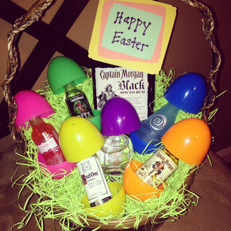 Easter Basket Full Of Liquor Easter Basket Diy Easter Baskets Easter Diy