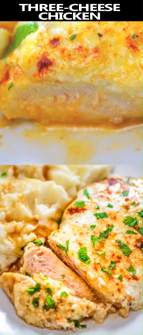 Photo of This easy, one-pan Three-Cheese Chicken recipe requires just a few ingredients a…