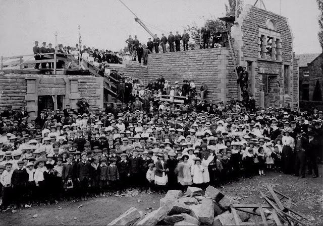 Crowd in front of the Phipps Institute, Beauly, under construction, c. 1903.