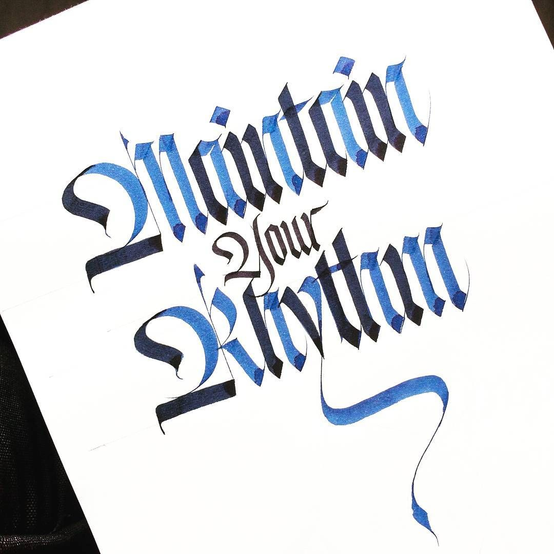 Maintain your Rhythm  Automatic Pen | J. Herbin ink | cartridge paper .  .  .  #sachinspiration #handlettering #calligraphy #calligraphymasters