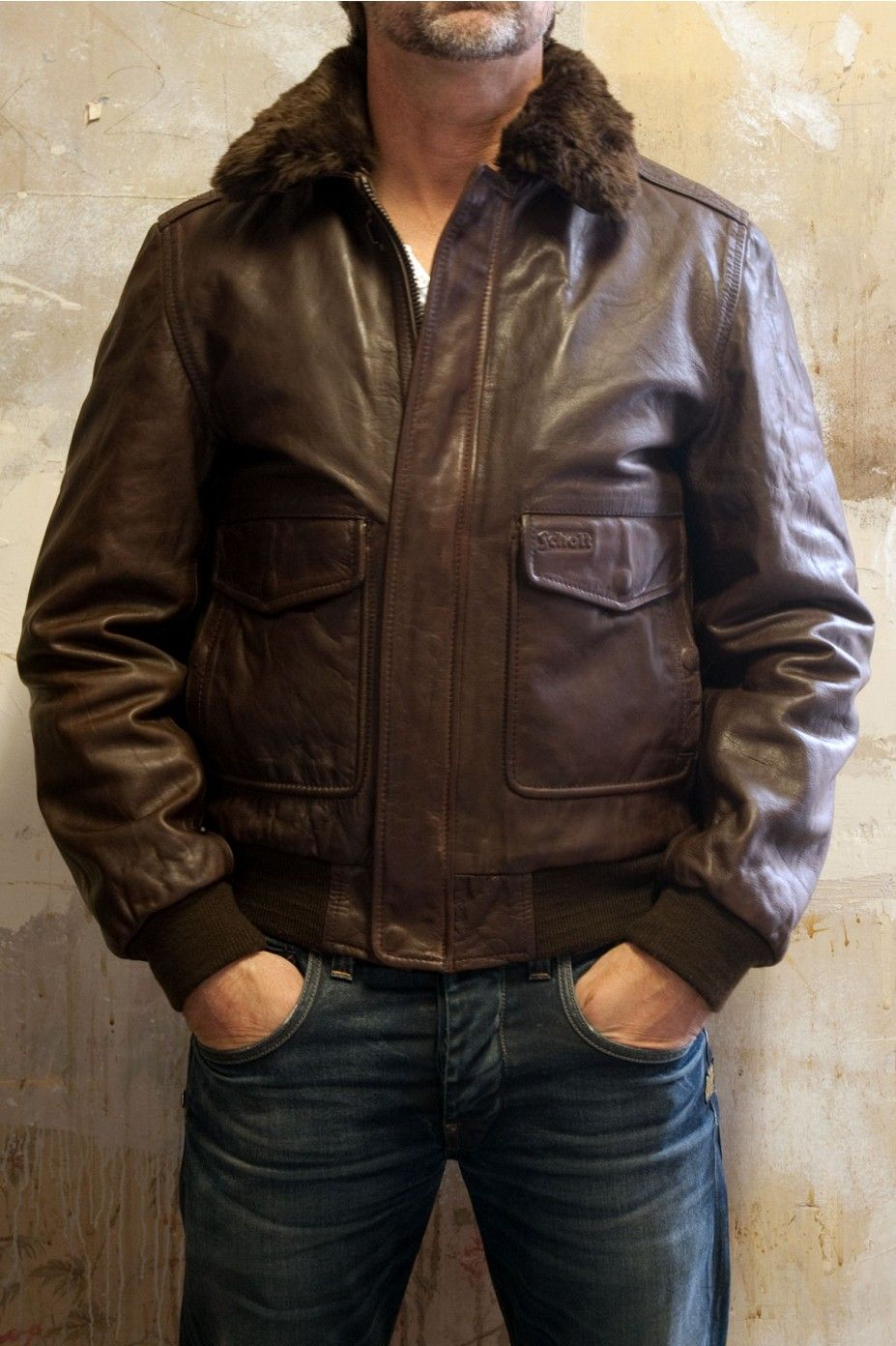 Brown leather pilot jacket