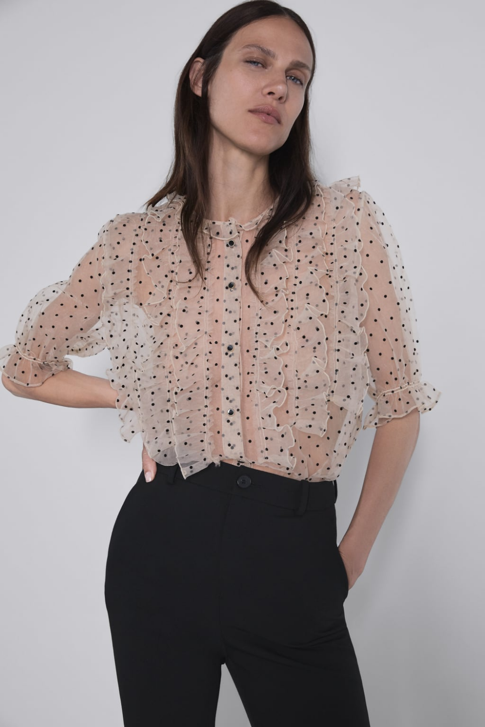 Polka Dot Organza Blouse View All Shirts Blouses Woman New Collection Zara United States Ropa Ropa De Moda Ropa Urbana