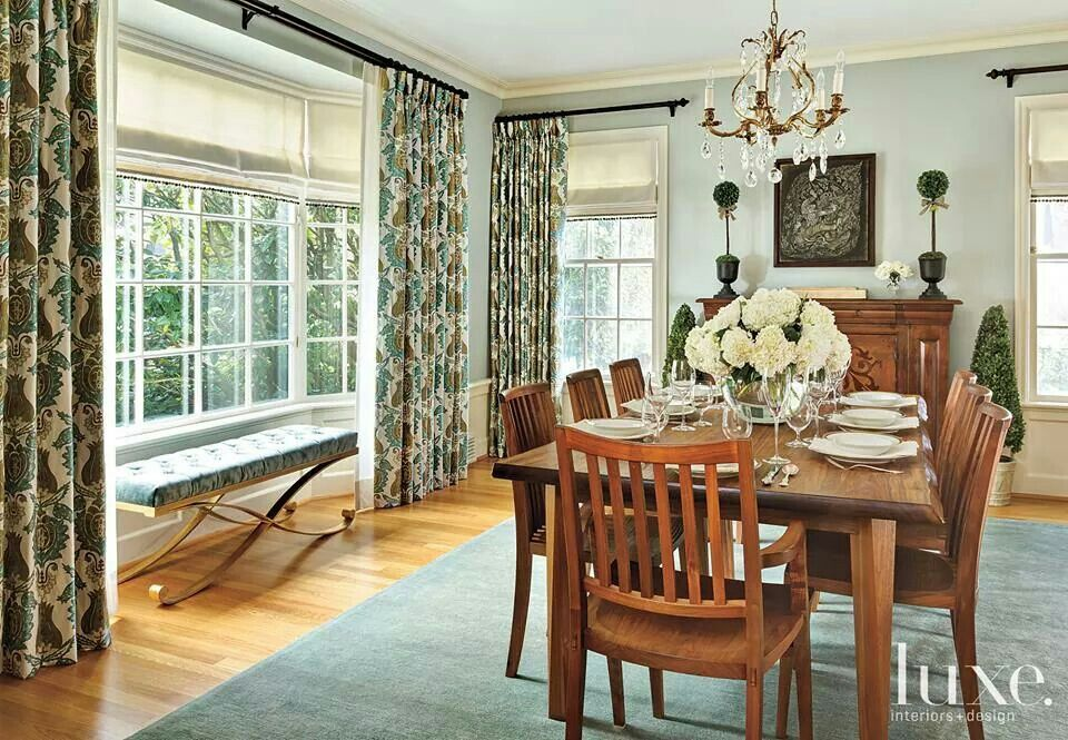 via luxe | Traditional dining rooms, Curtains living room ... on Farmhouse Dining Room Curtain Ideas  id=39674