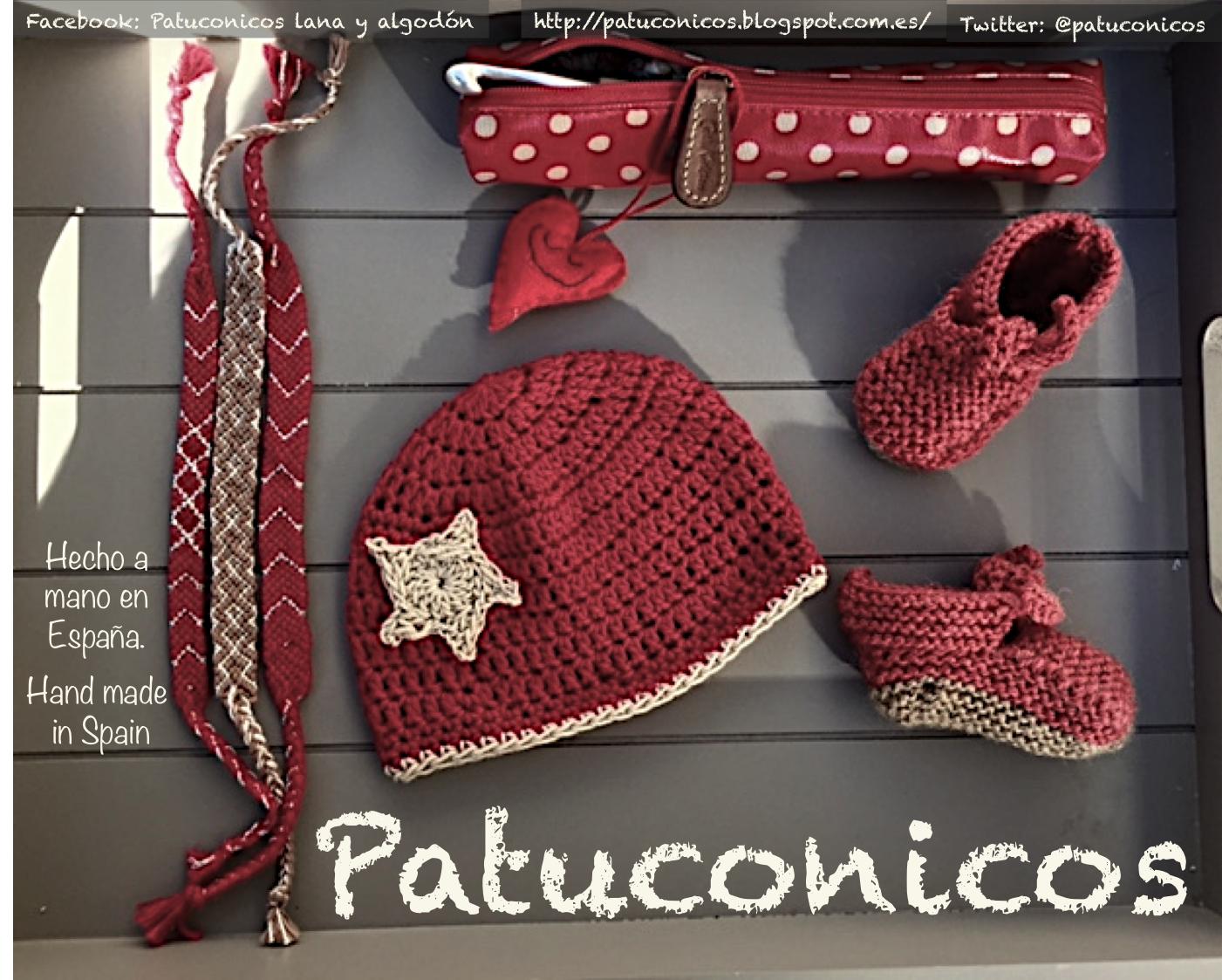 Patuconicos hecho a mano con lana y algodón: - Ataditas Patuconicos de lana 12€ el par talla 0-1 mes. - Gorrito de algodón 15€ talla 0-1 mes. - Pulseras anchas 5 y 6€ (Mas gastos de envio).