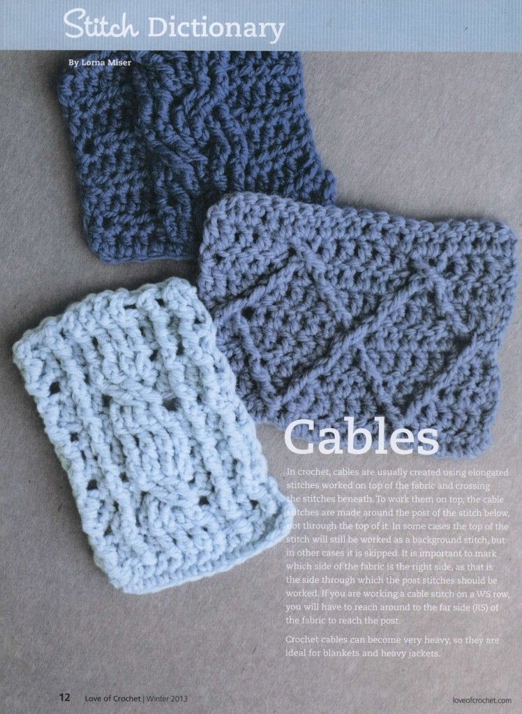Crochet cable stitches | Crochet cable stitch, Cable and Stitch