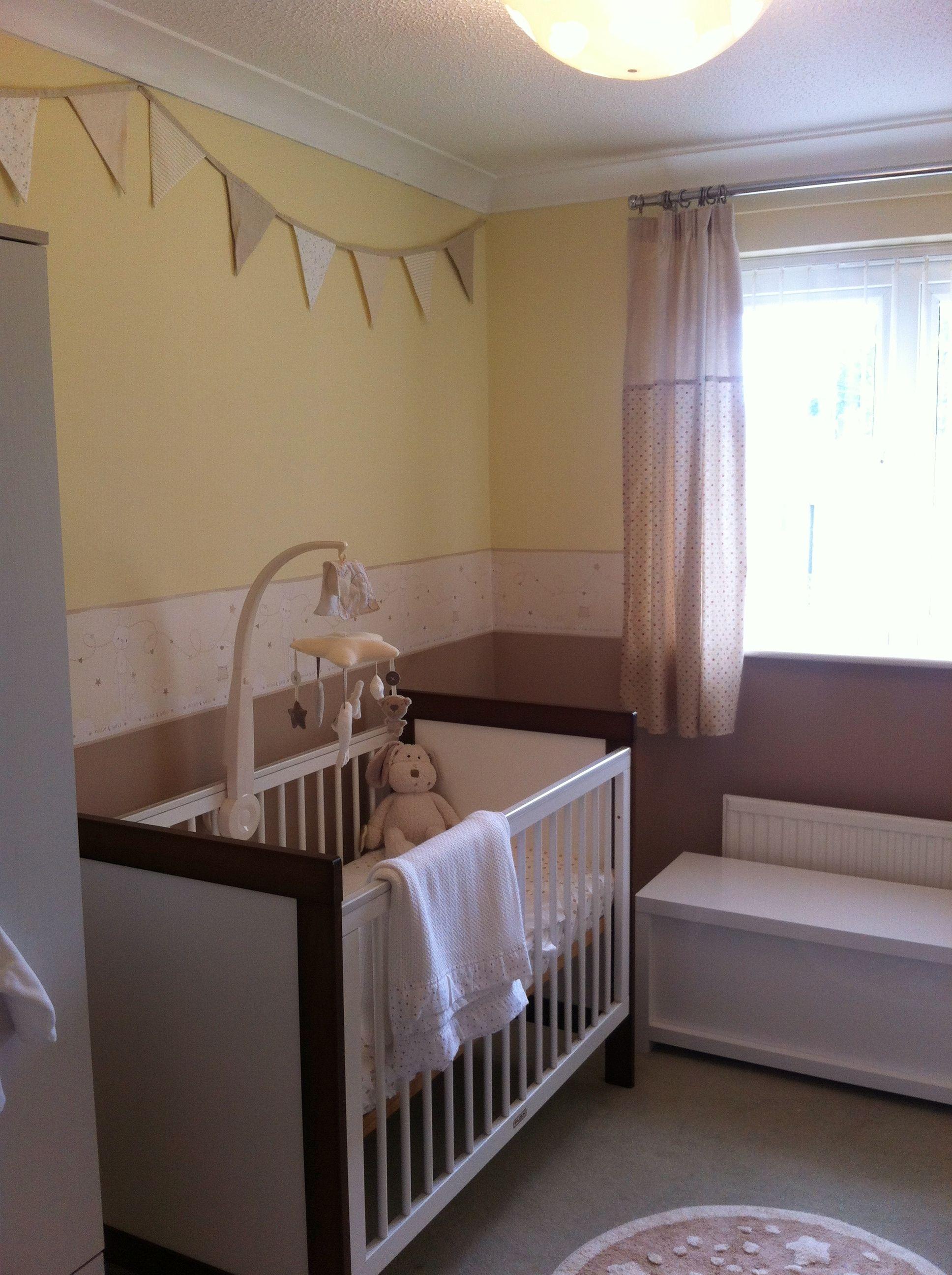 Gender neutral nursery. Top colour Dulux Buttermilk, bottom colour ...