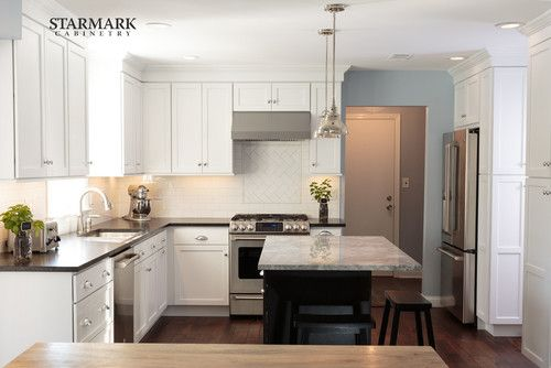 classic white kitchen with black accents houzz portfolio