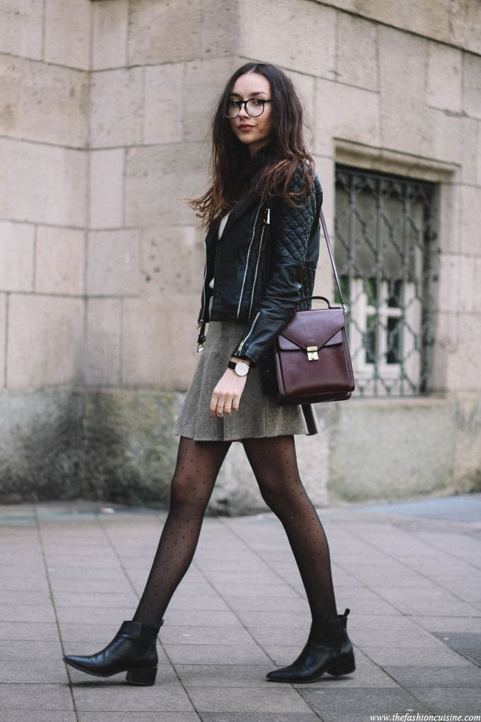 Quilted Leather Jacket, Tweed Skater Skirt, Preppy Outfit -7347
