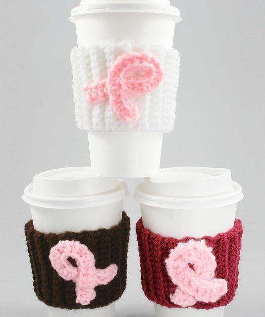 Ribbon Crochet Coffee Cozy pattern by Vicki Blizzard | Crochet ...