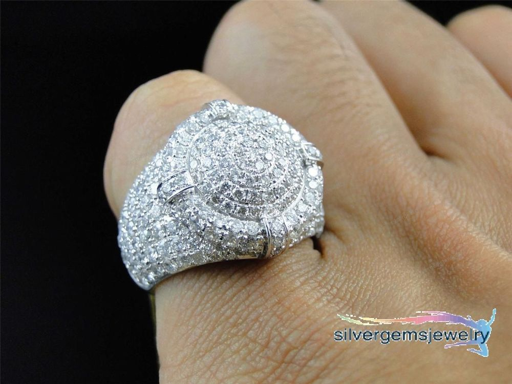Mens Iced Out 3d XL 412CT Diamond Dome Pinky Wedding Band Ring 10k