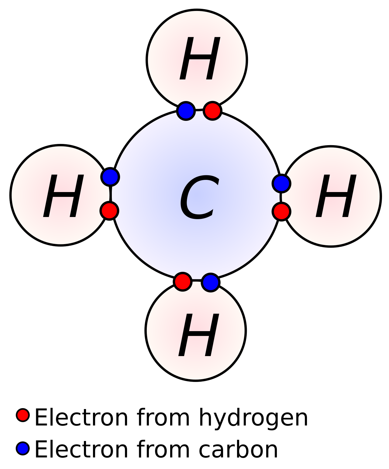 four covalent bonds carbon has four valence electrons and here a valence of four each hydrogen atom has one valence electron and is univalent