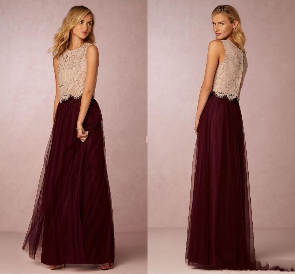 Burgundy tutu skirt bridesmaid dresses 2016 champagne lace for Modern wedding guest dresses