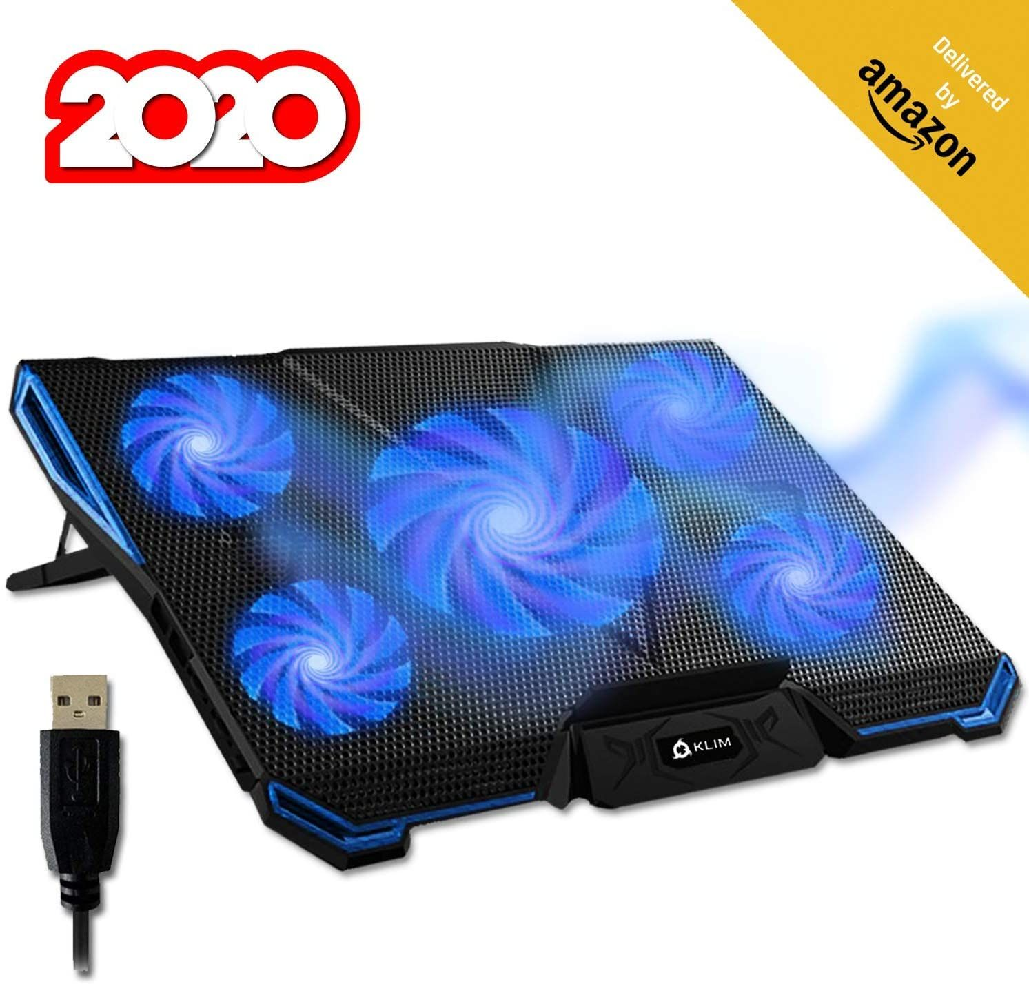 Amazon Com Klim Cyclone Laptop Cooling Pad 5 Fans Cooler No More Overheating Increase Your Pc Performanc In 2020 Laptop Cooling Pad Laptop Cooler Gaming Stand