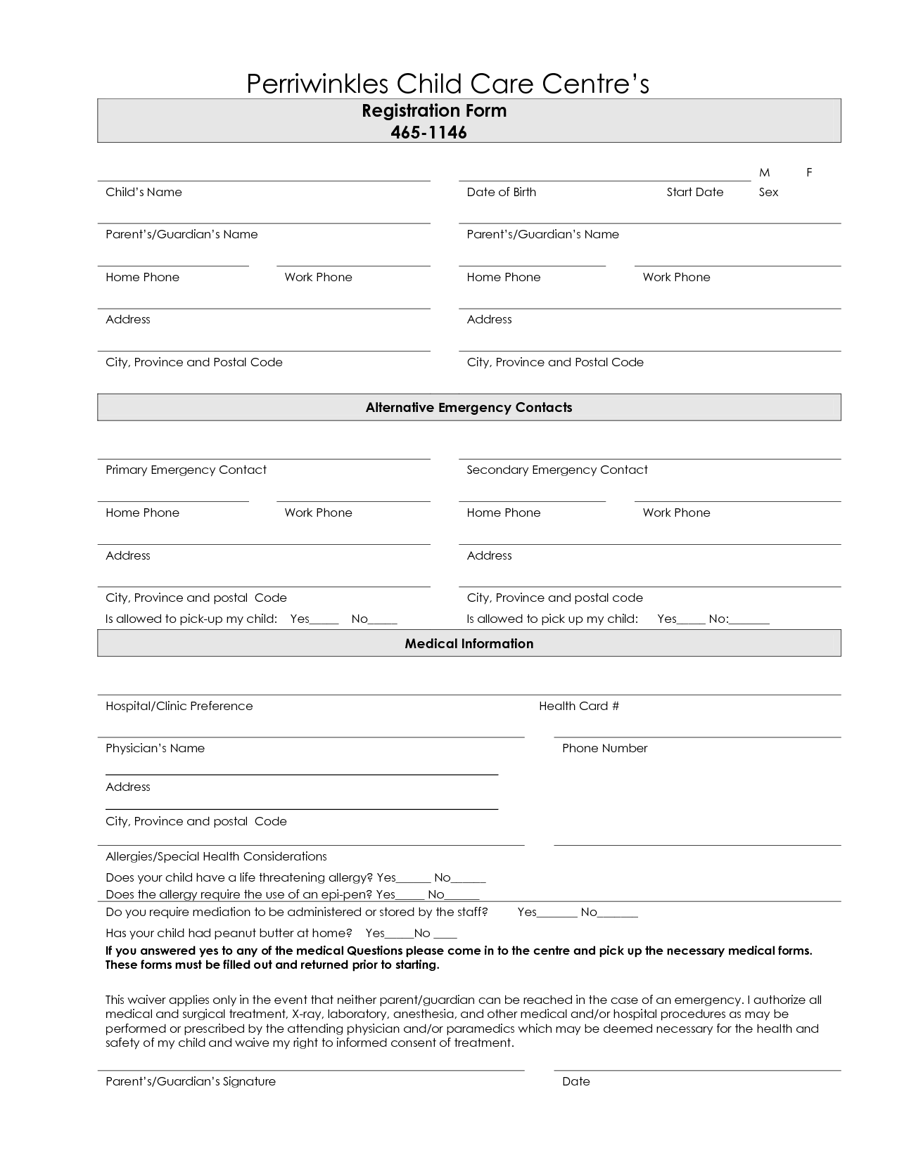 7 Best Images Of Printable Daycare Forms Free Daycare Contract Forms Free Printable Home