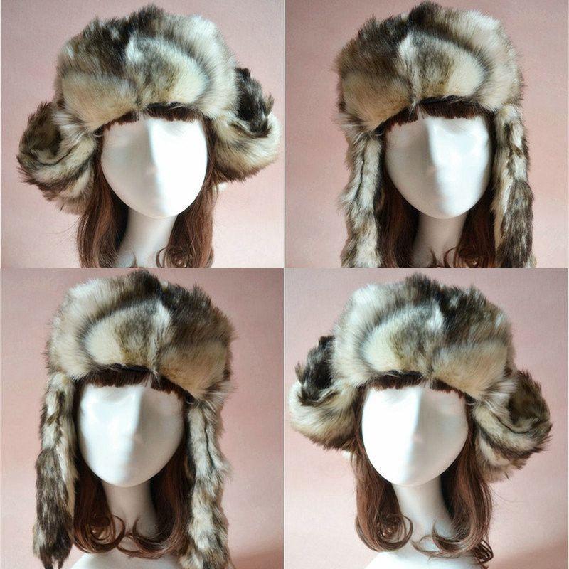Real Fur Russian Trapper Hat Womens Mens Ear Warm Winter Beret Cap Earflap Hat