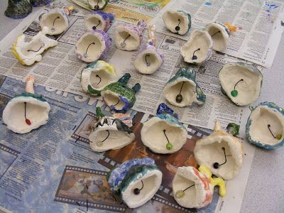 4th Grade Ceramic Bells   ---  I challenged the fourth graders to create functional bells, but to also be as creative with them as possible.