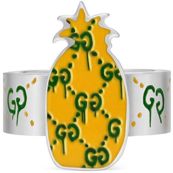5ede17113 Gucci Guccighost Pineapple Ring In Silver And Enamel ($370) ❤ liked on  Polyvore featuring jewelry, rings, jewellery & watches, silver, silver  jewellery, ...