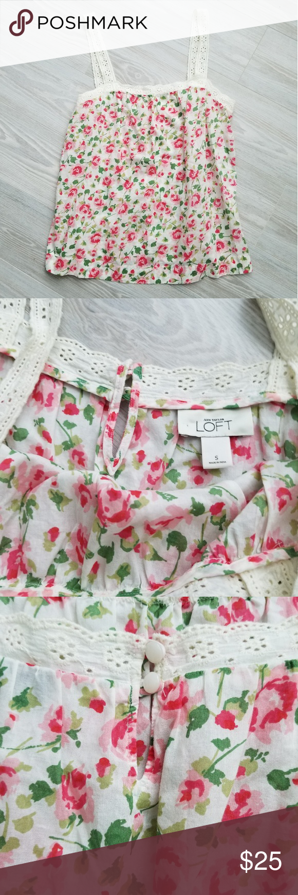 Ann Taylor Loft Rose Country Chic Tank Top Light Loose Fitted Floral Print. Pretty Chic Tank Top. Perfect Condition. I love Loft clothing always well made and looks great on. Sadly I should have bought an xs in this top. So pretty! LOFT Tops Tank Tops #loftclothes