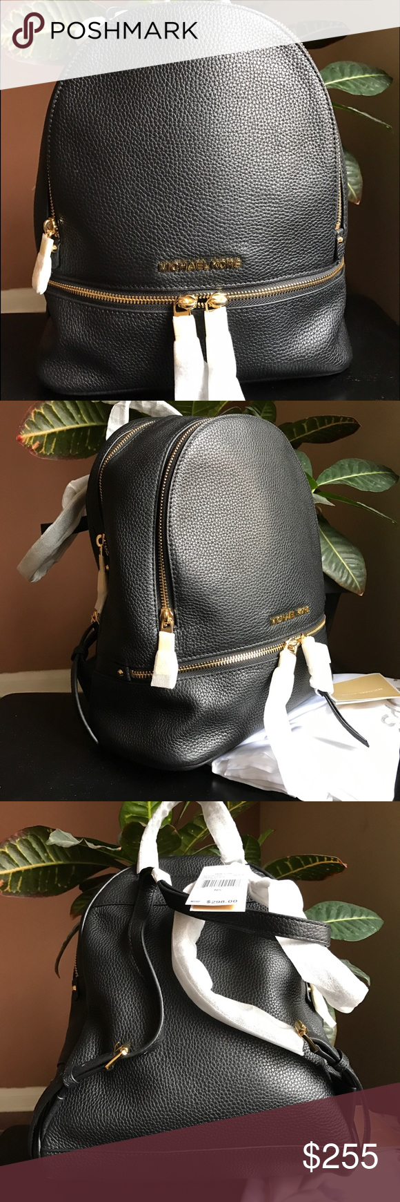 "New Michael Kors leather Zipper backpack New Michael Kors black leather zipper backpack, brand new with tag and dust bag. Measure: 14.75"" x12"" x 6"". 100% authentic. Price firm. No trade. Thx. Michael Kors Bags Backpacks"