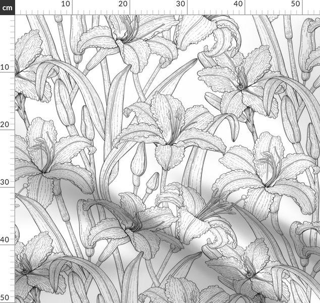 Tawny daylily flowers, b&w - Spoonflower