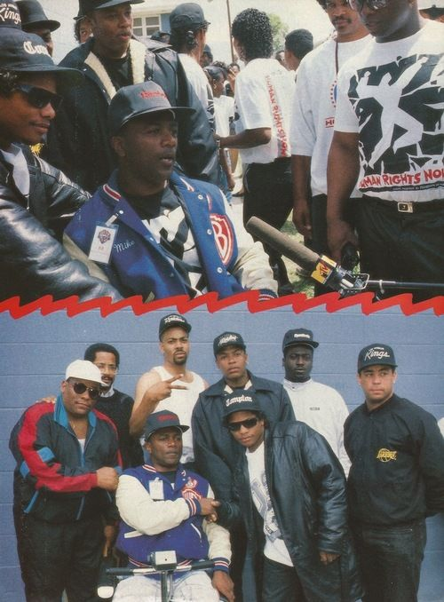 Eazy-E, Dr. Dre, DJ Yella, The DOC, KMG, and Mike Concepcion at the We're All in the Same Gang video shoot, LA, 1990