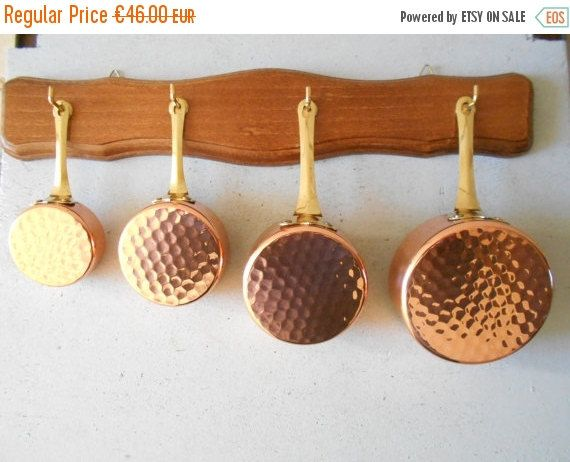 Doll house miniature copper pans and by Birdycoconut