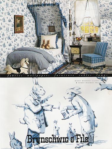 1995 Ad Dressed Rabbits Art Bunny Business Fabric Wallpaper Brunschwig Fils